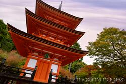 Koyasu pagoda dedicated to goddess of childbirth at Kiyomizu-dera Buddhist temple in fall Kyoto