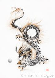 Mystical asian dragon coiled playing with his Pearl of Wisdom sumi-e ink painting