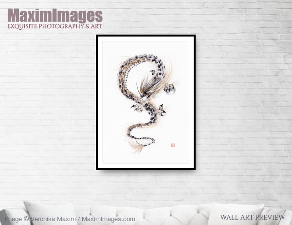 This Fine Art Print of Asian Dragon with the Night Shining Pearl sumi-e black ink painting on white by Veronika Maxim, is available in different sizes and paper finishes. You can buy this Wall Art at MaximImages.com.