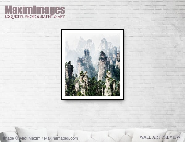 This Fine Art Print of Floating mountains Zhangjiajie National Forest Park by Alex Maxim, is available in different sizes and paper finishes. You can buy this Wall Art at MaximImages.com.