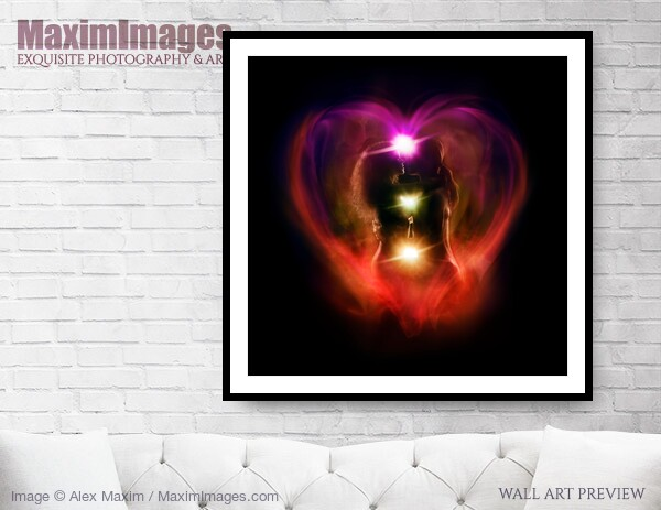 This Fine Art Print of Tantra and Tantric sexuality spiritual concept of a couple making love with chakra energy flow in a shape of a heart around their bodies by Alex Maxim, is available in different sizes and paper finishes. You can buy this Wall Art at MaximImages.com.