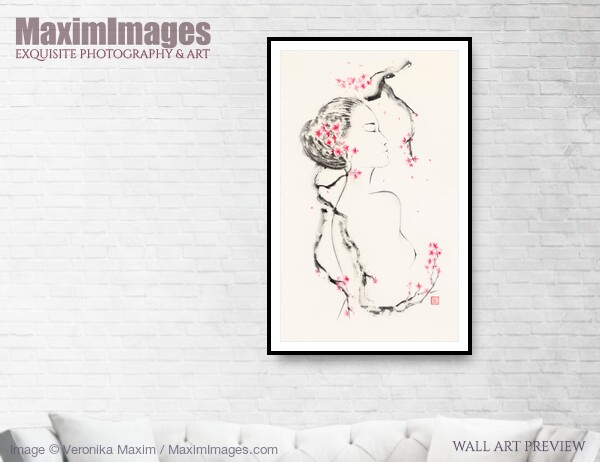 This Fine Art Print of Young naked asian woman embraced by the blooming sakura branch by Veronika Maxim, is available in different sizes and paper finishes. You can buy this Wall Art at MaximImages.com.